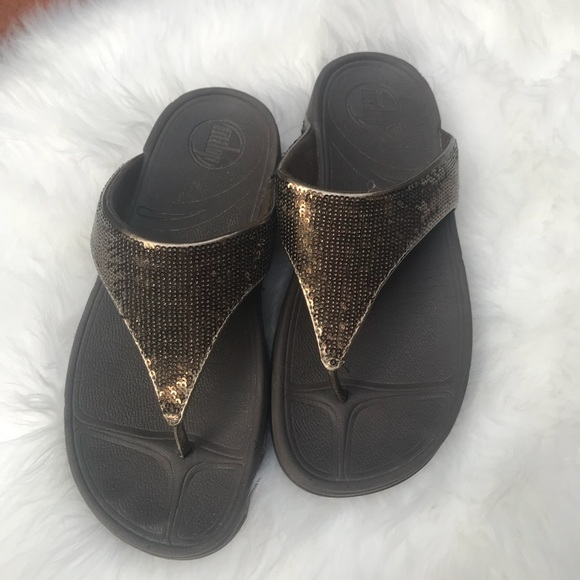 0ca90b80f Fitflop Shoes - Fitflop copper sequin sandals size 7 worn lightly